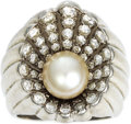 Estate Jewelry:Rings, Retro Cultured Pearl, Diamond, Platinum Ring. The ring features a cultured pearl measuring 8.50 - 8.00 mm, enhanced by ful...