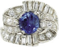 Estate Jewelry:Rings, Sapphire, Diamond, Platinum Ring. The ring centers a cushion-shapedsapphire measuring 8.50 x 7.50 x 6.70 mm and weighing ...