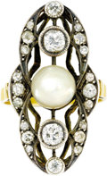 Estate Jewelry:Rings, Antique Diamond, Pearl, Silver-Topped Gold Ring. The ring, of navette form, features a pearl measuring 7.00 - 6.50 mm, enh... (Total: 1 Item)