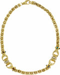 Estate Jewelry:Necklaces, Multi-Stone, Gold Necklace. The 14k gold open link necklace is comprised of buckle links having cabochon accents in garnet...
