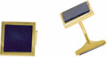 Estate Jewelry:Cufflinks, Gentleman's Lapis Lazuli, Gold Cuff Links, French. Each link features one square face centering a lapis lazuli tablet; tog...