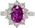 Estate Jewelry:Rings, Pink Sapphire, Diamond, Platinum Ring. The ring centers an oval-shaped pink sapphire measuring 10.20 x 7.10 x 4.70 mm and ...