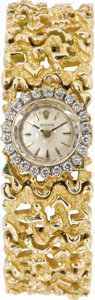 Timepieces:Wristwatch, Rolex Lady's Diamond, Gold Integral Bracelet Wristwatch, circa1960. ...