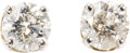 Estate Jewelry:Earrings, Diamond, Gold Earrings. Each earring features a round brilliant-cut diamond, set in 14k white gold. Total diamond weight f...
