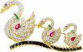 Estate Jewelry:Brooches - Pins, Diamond, Ruby, Sapphire, Emerald, Gold Brooch. The brooch, designed as three swans, features full-cut diamonds weighing a ...