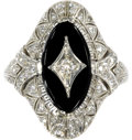 Estate Jewelry:Rings, Art Deco Diamond, Black Onyx, Platinum Ring, Peacock. The ring is highlighted by a full-cut diamond weighing approximately...