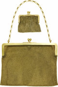Estate Jewelry:Purses, Gold Mesh Purse and Coin Purse. The purse and accompanying coinpurse feature solid 14k yellow gold frames supporting gold...