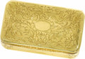 Estate Jewelry:Objects d'Art, Victorian Gold Snuff Box, Leon Tournan. The hinged 18k yellow goldbox has an ornate floral and foliate engraved pattern w...