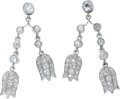 Estate Jewelry:Earrings, Diamond, Platinum Earrings. Each earring suspends tulips, featuringEuropean-cut diamonds weighing a total of approximatel...