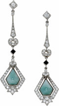 Estate Jewelry:Earrings, Diamond, Jade, Onyx, Platinum Earrings. Each dangling earringfeatures jadeite jade and black onyx cabochons, enhanced by ...