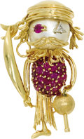 Estate Jewelry:Brooches - Pins, Ruby, Diamond, Mabe Pearl, Gold Clip-Brooch,. The brooch, designedas a pirate, features round-cut rubies weighing a total...