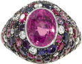 Estate Jewelry:Rings, Sapphire, Diamond, Ruby, Gold Ring, Silverhorn. The ring centers an oval-shaped pink sapphire measuring 10.00 x 8.00 x 6.5...