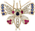 Estate Jewelry:Brooches - Pins, Victorian Diamond, Multi-Stone, Pearl, Gold Pendant-Brooch. Thependant-brooch, designed as a butterfly, features a round-...