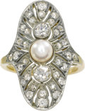 Estate Jewelry:Rings, Antique Diamond, Pearl, Platinum-Topped Gold Ring. The ring ishighlighted by a pearl measuring 5.50 - 5.00 mm, flanked by...