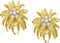 Estate Jewelry:Earrings, Diamond, Gold Earrings. Each floral motif earring features full-cutdiamonds weighing a total of approximately 0.30 carat,...