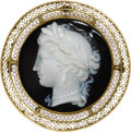 Estate Jewelry:Brooches - Pins, Victorian Hardstone Cameo, Seed Pearl, Gold Pendant-Brooch. Thependant-brooch features a carved banded onyx cameo measuri...