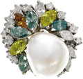 Estate Jewelry:Rings, South Sea Cultured Pearl, Colored Diamond, Diamond, Gold Ring. The ring is highlighted by a baroque South Sea cultured pea...