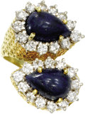 Estate Jewelry:Rings, Lapis Lazuli, Diamond, Gold Ring. The bypass ring features pear-shaped lapis lazuli cabochons, one measuring 12.00 x 9.25 ...