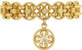 Estate Jewelry:Bracelets, Diamond, Gold Bracelet. The 18k yellow gold bracelet features fancy openwork coin edge links highlighted by flowers, suppo...