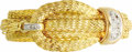 Estate Jewelry:Bracelets, Diamond, Gold Bracelet. The buckle themed soft bangle features three woven ropes, composed of fine individual 18k yellow g...
