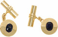 Estate Jewelry:Cufflinks, Retro Sapphire, Gold Cuff Links. Each link features a stylized dischighlighted by an oval-shaped sapphire measuring 7.45 ...