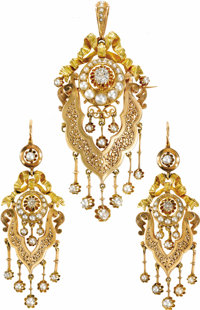 Victorian Diamond, Seed Pearl, Gold Jewelry Suite, French  Designed with a ribbon motif, the suite includes: one pair of...