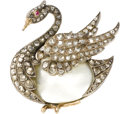Estate Jewelry:Brooches - Pins, Victorian Diamond, Ruby, Mother-of-Pearl, Silver-Topped Gold Brooch, French. The brooch, designed as a swan, centers a mot...