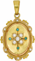 Estate Jewelry:Pendants and Lockets, Victorian Seed Pearl, Turquoise, Gold Locket-Pendant, French. Theoval-shaped locket-pendant features button-shaped seed p...