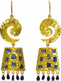 Estate Jewelry:Earrings, Sapphire, Gold Earrings, Lunia. Each earring features polished sapphires of varying size and shape, set in hammer finished...