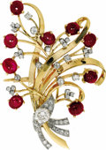 Estate Jewelry:Brooches - Pins, Diamond, Ruby, Gold Pendant-Brooch. The pendant-brooch features European, full and single-cut diamonds weighing a total of...