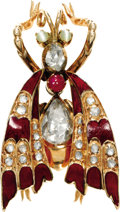 Estate Jewelry:Brooches - Pins, Diamond, Ruby, Cat's-Eye Chrysoberyl, Enamel, Gold Brooch. The brooch, designed as a bug, features rose-cut diamonds, enha...