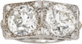 Estate Jewelry:Rings, Art Deco Diamond, Platinum Ring. The ring is highlighted by two European-cut diamonds, one measuring 8.80 x 8.65 x 6.20 mm...