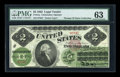 Large Size:Legal Tender Notes, Fr. 41a $2 1862 Legal Tender PMG About Uncirculated 63....