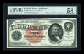 Large Size:Silver Certificates, Fr. 261 $5 1886 Silver Certificate PMG Choice About Unc 58....