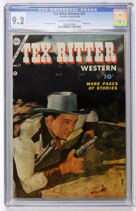 Tex Ritter Western #21 (Charlton, 1954) CGC NM- 9.2 Cream to off-white pages....