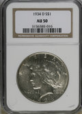 Peace Dollars: , 1934-D $1 AU50 NGC. NGC Census: (40/3075). PCGS Population(36/4131). Mintage: 1,569,500. Numismedia Wsl. Price for NGC/PCG...