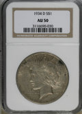 Peace Dollars, 1934-D $1 AU50 NGC. NGC Census: (40/3075). PCGS Population(36/4131). Mintage: 1,569,500. Numismedia Wsl. Price for NGC/PCG...