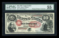 Large Size:Legal Tender Notes, Fr. 99 $10 1878 Legal Tender PMG About Uncirculated 55....