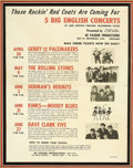 "Music Memorabilia:Posters, Rolling Stones and Others Vintage Concert Flyer. A 8.5"" x 11""vintage flyer from 1964 for a series concerts at the Arie Crow...(Total: 1 Item)"
