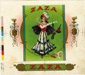 Antique Stone Lithography:Cigar Label Art, Zaza Cigar Inner Label Proof,...