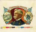 Antique Stone Lithography:Cigar Label Art, Commodore Watson Cigar Inner Label Proof by F.Heppenheimer's Sons, New York,...