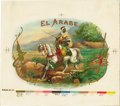 Antique Stone Lithography:Cigar Label Art, El Arabe Cigar Inner Label Proof by the AmericanLithographic Co., New York, ...