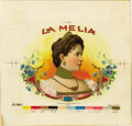 Antique Stone Lithography:Cigar Label Art, La Melia Cigar Inner Label Proof by the AmericanLithographic Co., New York, 1901,...