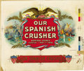 Antique Stone Lithography:Cigar Label Art, Our Spanish Crusher Cigar Label Inner Proof by Witsch &Schmitt, New York....