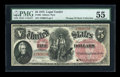 Large Size:Legal Tender Notes, Fr. 66 $5 1875 Legal Tender PMG About Uncirculated 55....