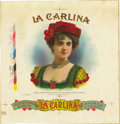 Antique Stone Lithography:Cigar Label Art, La Carlina Cigar Inner Label Proof by the American Lithographic Co., New York, 1901,...