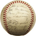 Autographs:Baseballs, 1952 New York Yankees Team Signed Baseball. With Joe DiMaggiosettling into his first year of retirement, the torch was off...