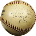 Autographs:Baseballs, 1938 Chicago Cubs Team Signed Baseball. The scrappy Cubs clawedtheir way back to the top of the National League for the si...
