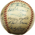Autographs:Baseballs, 1955 New York Yankees Team Signed Baseball. The long-sufferingBrooklyn Dodgers finally got the best of the boys from the B...