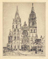 JOHN MARIN (American, 1870-1953) Chartres Cathedral, 1910 Etching on paper 11-1/4 x 9 inches (28